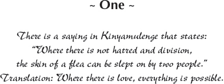 "One - There is a saying in Kinyamulenge that states: ""Where there is not hatred and division, the skin of a flea can be slept on by two people."" Translation: Where there is love, everything is possible."